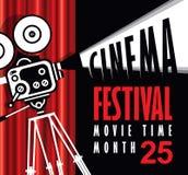Χρονική αφίσα κινηματογράφων με την ντεμοντέ κάμερα κινηματογράφων διανυσματική απεικόνιση