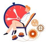 Χρονική διαχείριση γήρανσης χρονικής έννοιας και ρολόι και cogwheels προθεσμίας διανυσματική απεικόνιση