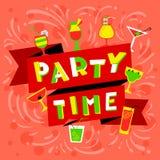 Χρονική εγγραφή κόμματος Πρόσκληση νυχτερινών κέντρων διασκέδασης Κόμμα κοκτέιλ backg διανυσματική απεικόνιση