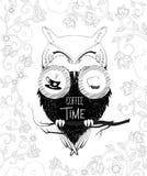 Χρονική κουκουβάγια καφέ στις διόπτρες Απεικόνιση Doodle Στοκ φωτογραφίες με δικαίωμα ελεύθερης χρήσης