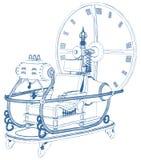 Χρονική μηχανή που απομονώνεται στο άσπρο διάνυσμα υποβάθρου ελεύθερη απεικόνιση δικαιώματος