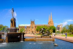 Χρονική archibald πηγή ημέρας πάρκων ορόσημων του Σίδνεϊ Αυστραλία hyde Στοκ Φωτογραφίες