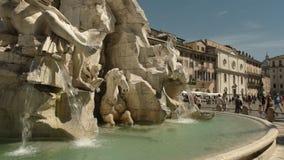 Χρονικός στενός επάνω ημέρας της πηγής τεσσάρων ποταμών στο navona πλατειών, Ρώμη φιλμ μικρού μήκους