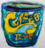 Χρονικό κομψό φλυτζάνι καφέ εγγραφή μπλε κίτρινος Στοκ Εικόνα