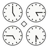 Χρονικό ρολόι γύρω από την ώρα πέντε ρολογιών απλό διάνυσμα εικονιδίων quoter μισό Στοκ Εικόνες