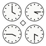 Χρονικό ρολόι γύρω από την ώρα τέσσερα ρολογιών απλό διάνυσμα εικονιδίων quoter μισό Στοκ εικόνες με δικαίωμα ελεύθερης χρήσης