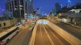 Χρονικό σφάλμα της κυκλοφορίας αυτοκινήτων πόλεων νύχτας το βράδυ στο Χονγκ Κονγκ φιλμ μικρού μήκους
