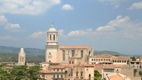 Χρονικό σφάλμα της πανοραμικής άποψης Girona και του καθεδρικού ναού, Καταλωνία, Ισπανία απόθεμα βίντεο