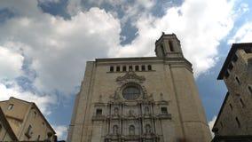 Χρονικό σφάλμα του καθεδρικού ναού του ST Mary το διασημότερο και επισκεμμένο ορόσημο Girona, Καταλωνία, Ισπανία φιλμ μικρού μήκους