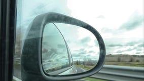 Χρονικό σφάλμα του τοπίου από τον οπισθοσκόπο καθρέφτη απόθεμα βίντεο