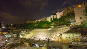 Χρονικό σφάλμα άποψης κάστρων μερών coliseum της Ισπανίας Μάλαγα κοντά ελαφρύ παλαιό 4k απόθεμα βίντεο