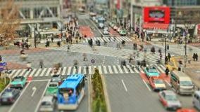 Χρονικό σφάλμα Τόκιο Shibuya κυκλοφορίας πόλεων για τους πεζούς απόθεμα βίντεο