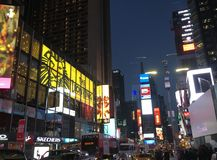 Χρονικό τετράγωνο στη νύχτα Νέα Υόρκη Στοκ Φωτογραφία