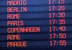 Χρονοδιάγραμμα αναχώρησης πτήσεων Στοκ Φωτογραφία