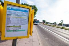 Χρονοδιάγραμμα από τη γερμανική περιφερειακή επιχείρηση μεταφορών Στοκ Εικόνα