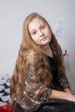 10χρονο πορτρέτο Χριστουγέννων κοριτσιών Στοκ Εικόνα
