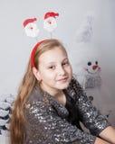 10χρονο πορτρέτο Χριστουγέννων κοριτσιών Στοκ Φωτογραφίες