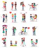 Χρονολόγηση της ερωτευμένης συλλογής ζευγών στο λευκό ελεύθερη απεικόνιση δικαιώματος
