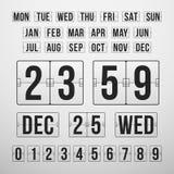 Χρονόμετρο αντίστροφης μέτρησης και ημερομηνία, ημερολογιακός πίνακας βαθμολογίας Στοκ φωτογραφίες με δικαίωμα ελεύθερης χρήσης