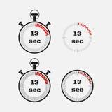 Χρονόμετρο 13 δευτερόλεπτα στο γκρίζο υπόβαθρο ελεύθερη απεικόνιση δικαιώματος