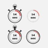 Χρονόμετρο 14 δευτερόλεπτα στο γκρίζο υπόβαθρο διανυσματική απεικόνιση