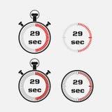 Χρονόμετρο 29 δευτερόλεπτα στο γκρίζο υπόβαθρο Στοκ Φωτογραφία