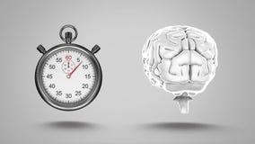 χρονόμετρο με διακόπτη και ανθρώπινος εγκέφαλος ελεύθερη απεικόνιση δικαιώματος