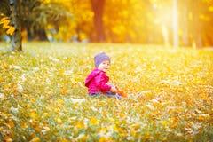 2 χρονών το μικρό παιδί έχει τη διασκέδαση υπαίθρια στο κίτρινο πάρκο φθινοπώρου στοκ φωτογραφίες με δικαίωμα ελεύθερης χρήσης