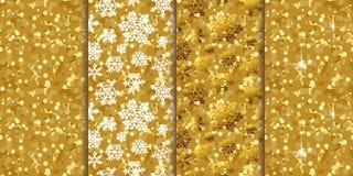 Χρυσά άνευ ραφής υπόβαθρα τέσσερα σχεδίων σε ένα σύνολο απεικόνιση αποθεμάτων