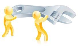 Χρυσά άτομα γαλλικών κλειδιών κλειδιών Στοκ φωτογραφία με δικαίωμα ελεύθερης χρήσης