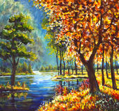 χρυσά δέντρα φθινοπώρου ελαιογραφίας και πράσινο δέντρο πεύκων στην ακτή ενάντια στο σκηνικό του μπλε ποταμού βουνών διανυσματική απεικόνιση