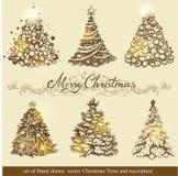 χρυσά δέντρα Χριστουγέννων Στοκ εικόνες με δικαίωμα ελεύθερης χρήσης
