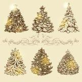 χρυσά δέντρα Χριστουγέννων Στοκ Εικόνες