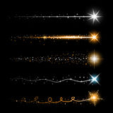 Χρυσά ακτινοβολώντας λαμπιρίζοντας μόρια ιχνών σκόνης αστεριών στο διαφανές υπόβαθρο Διαστημική ουρά κομητών Διανυσματική μόδα γο διανυσματική απεικόνιση
