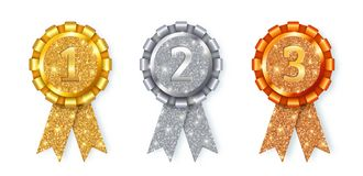 Χρυσά, ασημένια και διανυσματικά μετάλλια χαλκού που απομονώνονται στο λευκό Στοκ Εικόνα