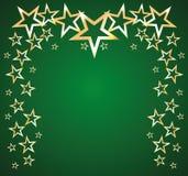 Χρυσά αστέρια σε ένα πράσινο διάνυσμα υποβάθρου Στοκ φωτογραφίες με δικαίωμα ελεύθερης χρήσης
