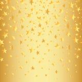Χρυσά αστέρια σε ένα χρυσό άνευ ραφής υπόβαθρο με μια κλίση επίσης corel σύρετε το διάνυσμα απεικόνισης Στοκ εικόνα με δικαίωμα ελεύθερης χρήσης