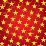 Χρυσά αστέρια στις κόκκινες διακοπές ανασκόπησης grunge απεικόνιση αποθεμάτων