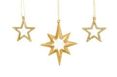 χρυσά αστέρια τρία Χριστο&upsilo Στοκ εικόνες με δικαίωμα ελεύθερης χρήσης