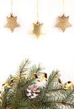 χρυσά αστέρια Χριστουγένν& Στοκ φωτογραφίες με δικαίωμα ελεύθερης χρήσης
