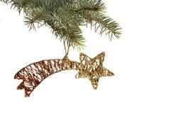 Χρυσά αστέρι Χριστουγέννων και χριστουγεννιάτικο δέντρο Στοκ Εικόνα