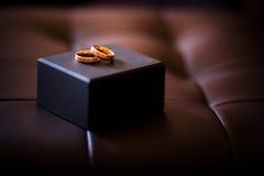 Χρυσά δαχτυλίδια στον καναπέ Στοκ φωτογραφία με δικαίωμα ελεύθερης χρήσης