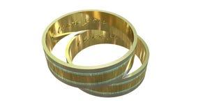 Χρυσά δαχτυλίδια σ' αγαπώ Στοκ Φωτογραφίες