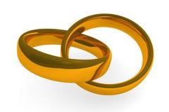 χρυσά δαχτυλίδια δύο Στοκ Φωτογραφία