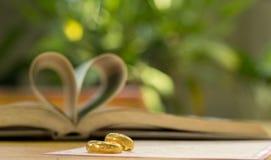 Χρυσά γαμήλια δαχτυλίδια, βιβλίο καρδιών, θαμπάδα υποβάθρου Στοκ Εικόνες