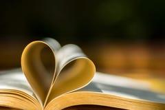 Χρυσά γαμήλια δαχτυλίδια, βιβλίο καρδιών, θαμπάδα υποβάθρου Στοκ Εικόνα