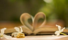 Χρυσά γαμήλια δαχτυλίδια, βιβλίο καρδιών, θαμπάδα υποβάθρου Στοκ φωτογραφία με δικαίωμα ελεύθερης χρήσης