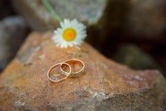 Χρυσά γαμήλια δαχτυλίδια στο μεγάλο orangestone Στοκ Φωτογραφίες