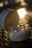 Χρυσά γαμήλια δαχτυλίδια σε ένα κιβώτιο δώρων Στοκ εικόνα με δικαίωμα ελεύθερης χρήσης