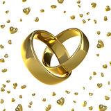 Χρυσά γαμήλια δαχτυλίδια σε μια μορφή μιας καρδιάς στοκ εικόνες με δικαίωμα ελεύθερης χρήσης